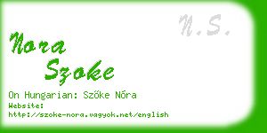 nora szoke business card